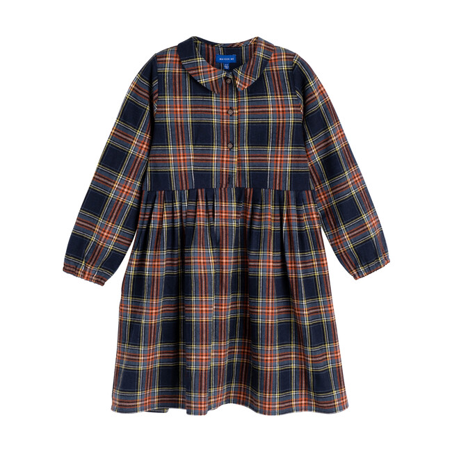 Emma Long Sleeve Collared Dress, Blue Multi Plaid