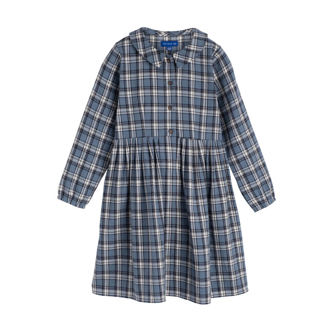 Emma Long Sleeve Collared Dress, Blue Check