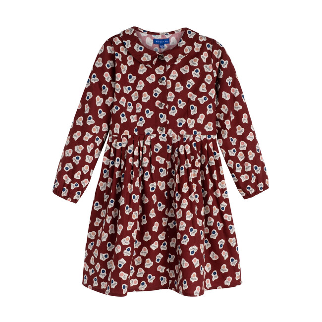 Emma Long Sleeve Collared Dress, Barn Red Cut Out Flowers