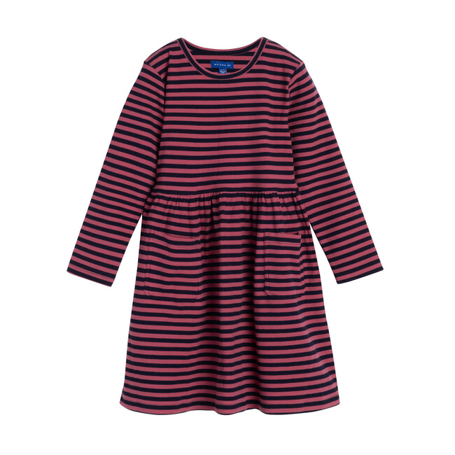 Marley Ribbed Long Sleeve Dress, Pink & Navy Stripe