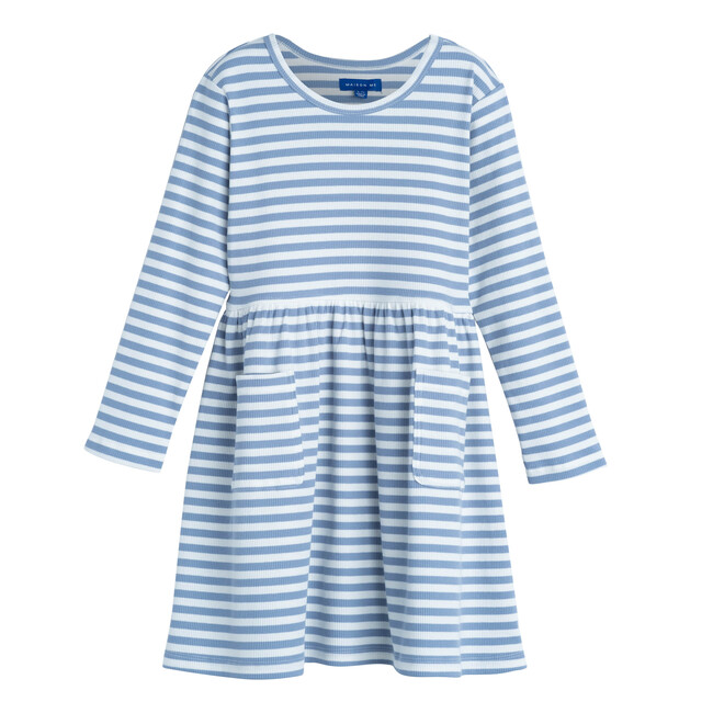 Marley Ribbed Long Sleeve Dress, Dusty Blue Stripe