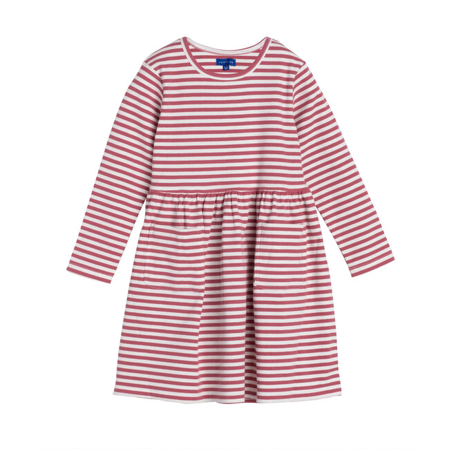 Marley Ribbed Long Sleeve Dress, Darker Dusty Rose Stripe