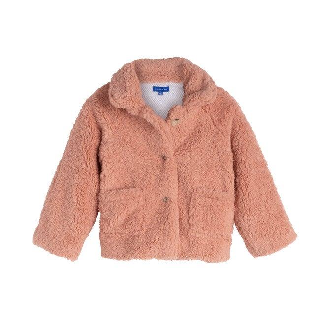 Phoebe Cropped Teddy Coat, Rose