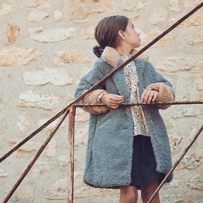 Etta Teddy Coat, Dusty Blue & Tan