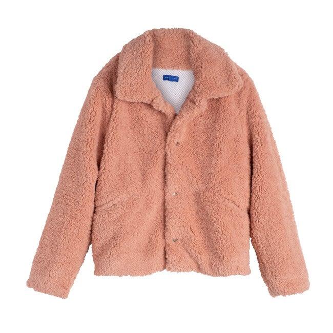 Penelope Women's Cropped Teddy Coat, Rose