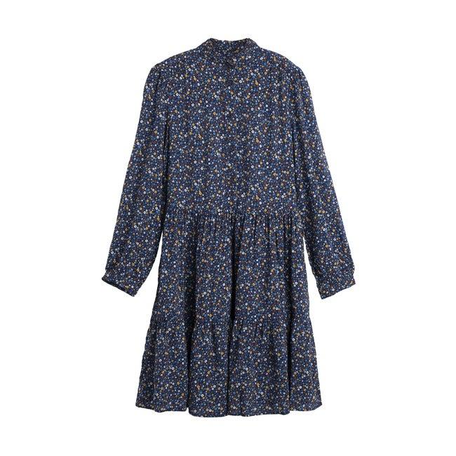 Caroline Women's Tiered Dress, Blue Ditsy Flower