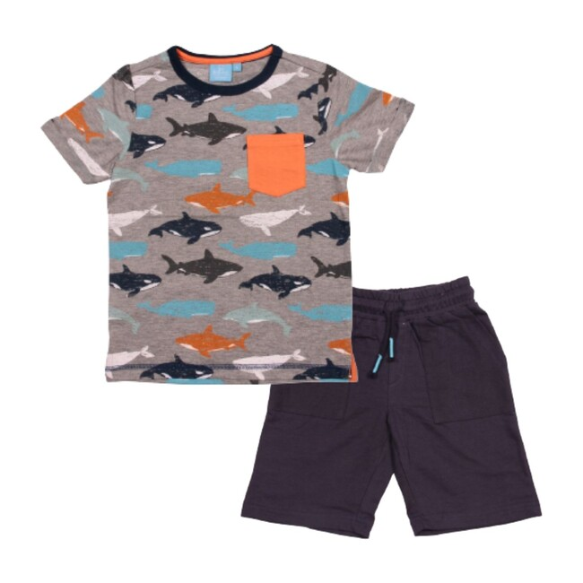 Carl Whale Tee & Short Set, Grey Heather
