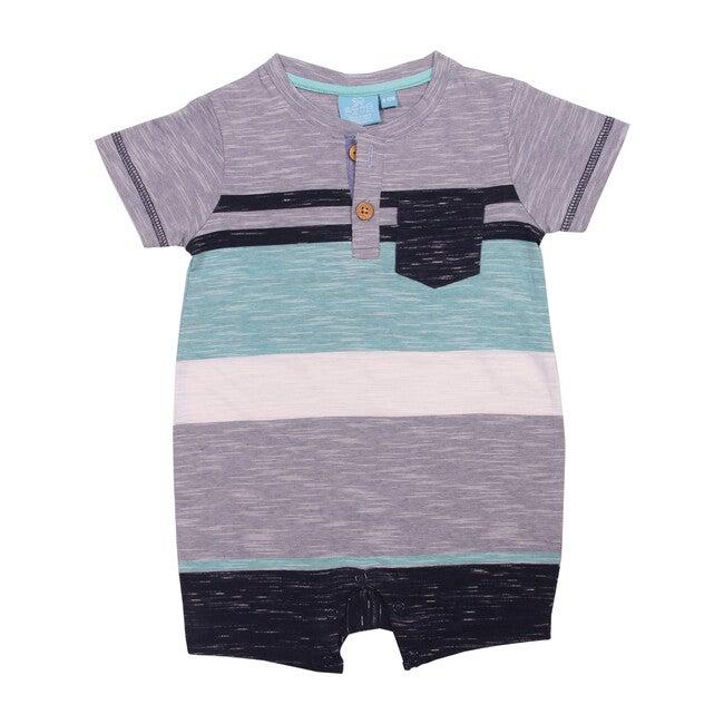 Cooper Yarn Dye Pocket Romper, Teal Tropic