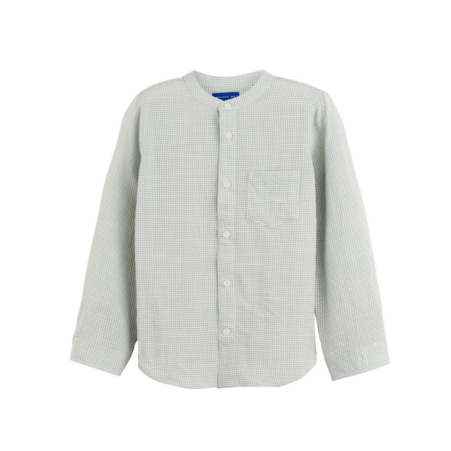 Finn Collarless Button Down, Sage Gingham