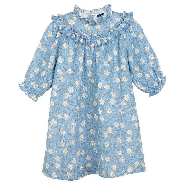 Cleo Dress, Cornflower Blue Flower on Vine