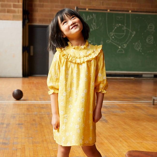 Cleo Dress, Sunshine Yellow Flower on Vine