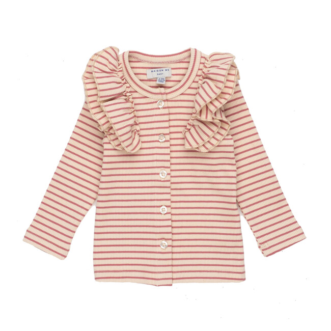Baby Priya Cardigan, Pink & Natural Stripe