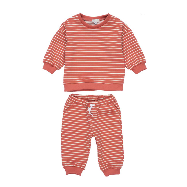Jones Sweat Set, Dusty Red Stripe