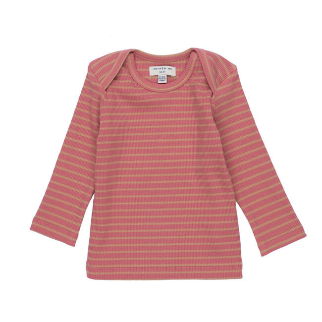 Andie Long Sleeve Tee, Pink & Tan Stripe