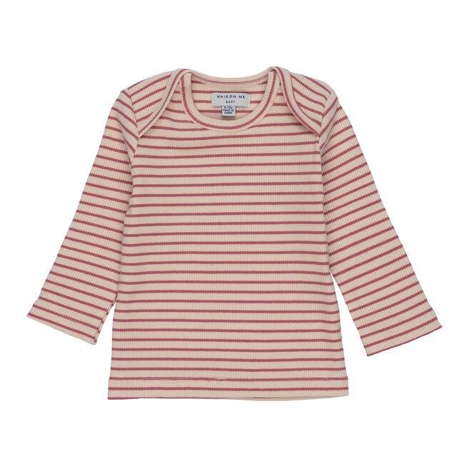 Andie Long Sleeve Tee, Pink & Natural Stripe