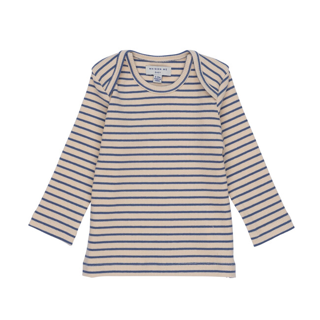 Andie Long Sleeve Tee, Blue & Natural Stripe