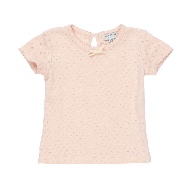 Kai Short Sleeve Tee, Dusty Pink Pointelle