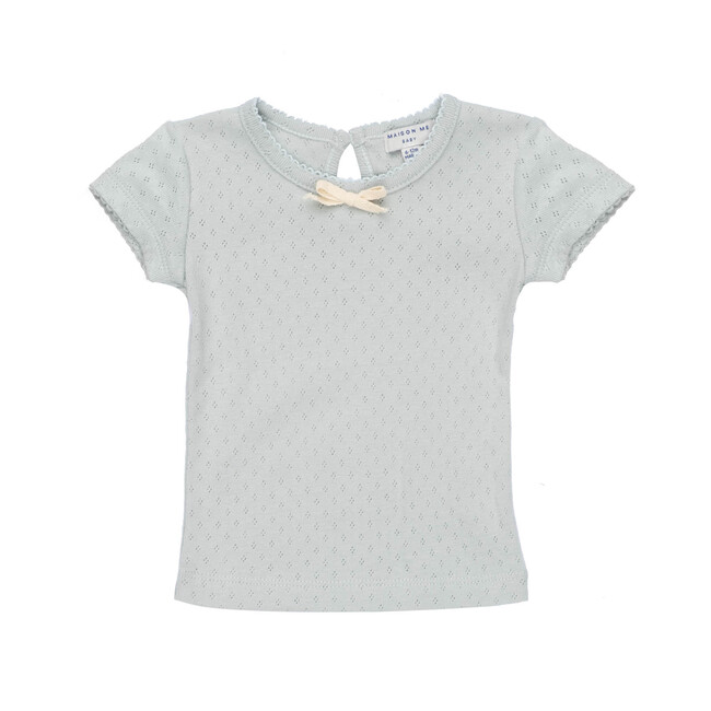 Kai Short Sleeve Tee, Dusty Blue Pointelle