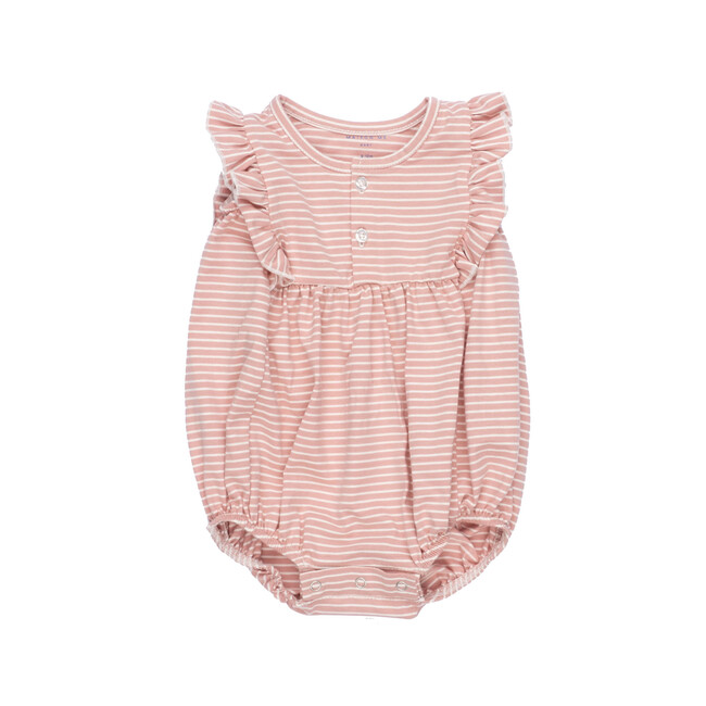Vanessa Bubble Romper, Pink Stripe