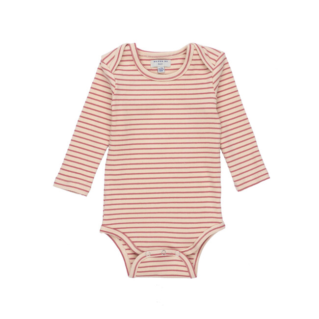 Reagan Long Sleeve Bodysuit, Pink & Natural Stripe