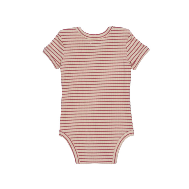 Perry Short Sleeve Bodysuit, Pink & Natural Stripe