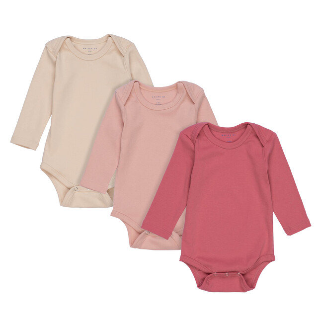 Reagan Long Sleeve Bodysuit Trio, Pink Multi