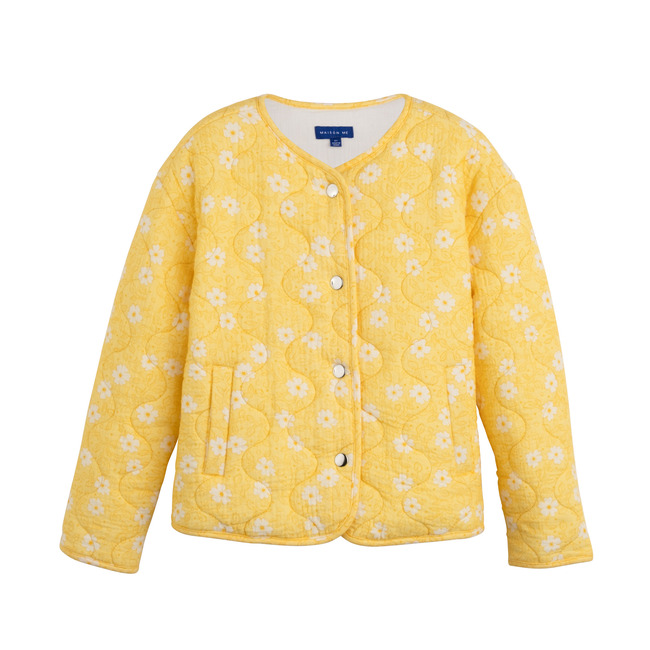Esme Quilted Jacket, Sunshine Yellow Flower on Vine