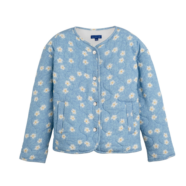 Esme Quilted Jacket, Cornflower Blue Flower on Vine