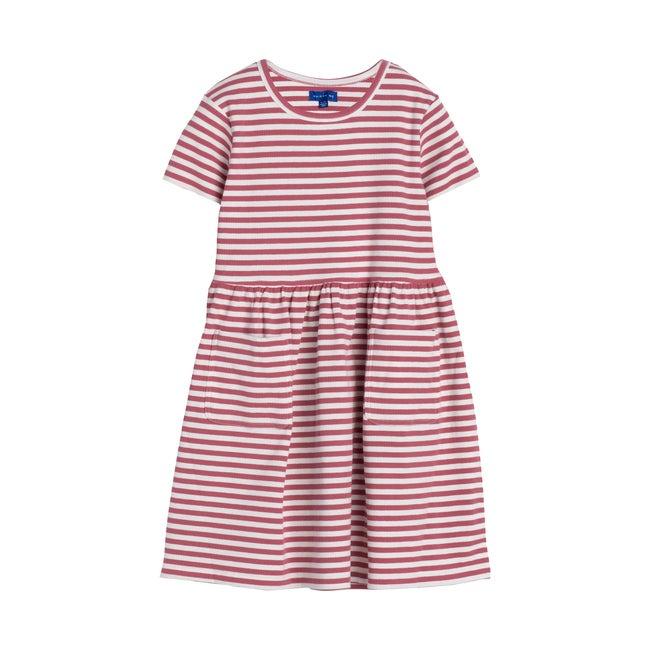Marla Short Sleeve Ribbed Dress, Darker Dusty Rose Stripe