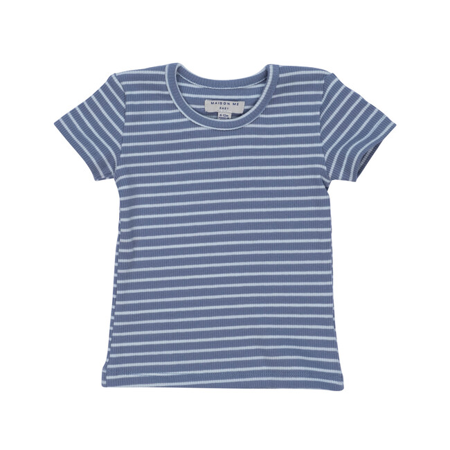 Kai Short Sleeve Tee, Blue & Light Blue Stripe