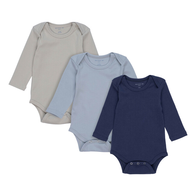Reagan Long Sleeve Bodysuit Trio, Blue Multi