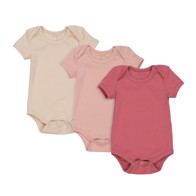 Perry Short Sleeve Bodysuit Trio, Pink Multi