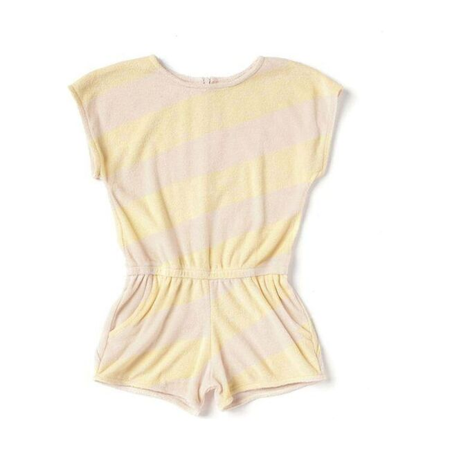 Terry Romper with Stripes, Yellow