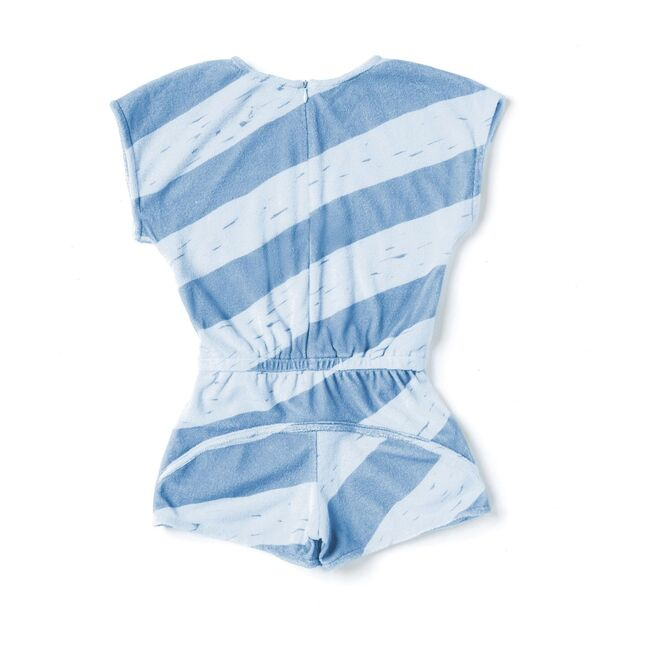 Terry Romper with Stripes, Blue