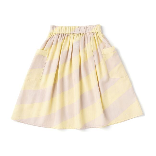 Girls Striped Skirt with Oversized Pockets, Yellow