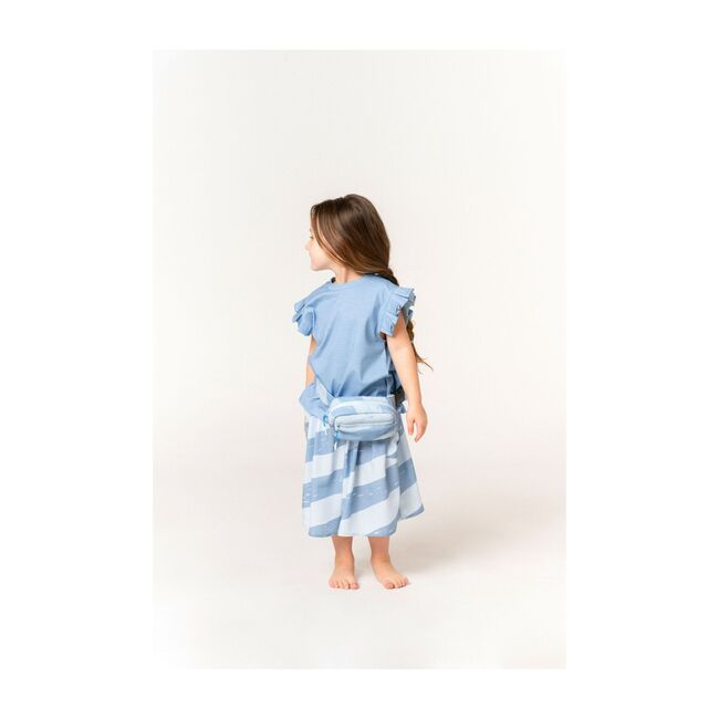 Girls Striped Skirt with Oversized Pockets, Blue
