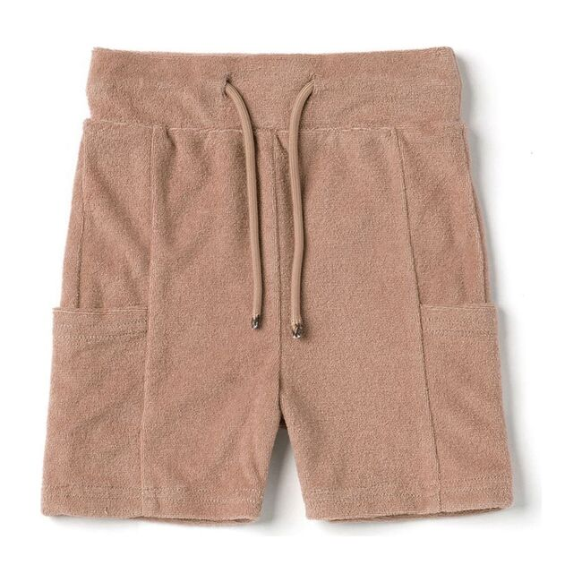 Baby Terry Pull-Up Shorts with Pockets, Mocha