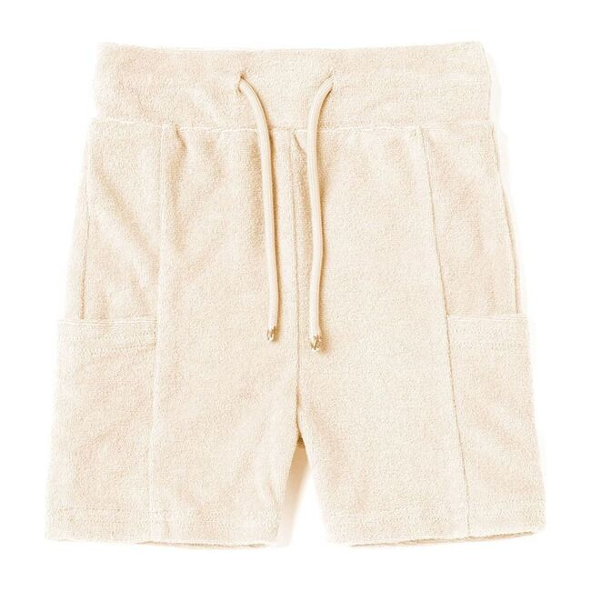 Baby Terry Pull-Up Shorts with Pockets, Cream