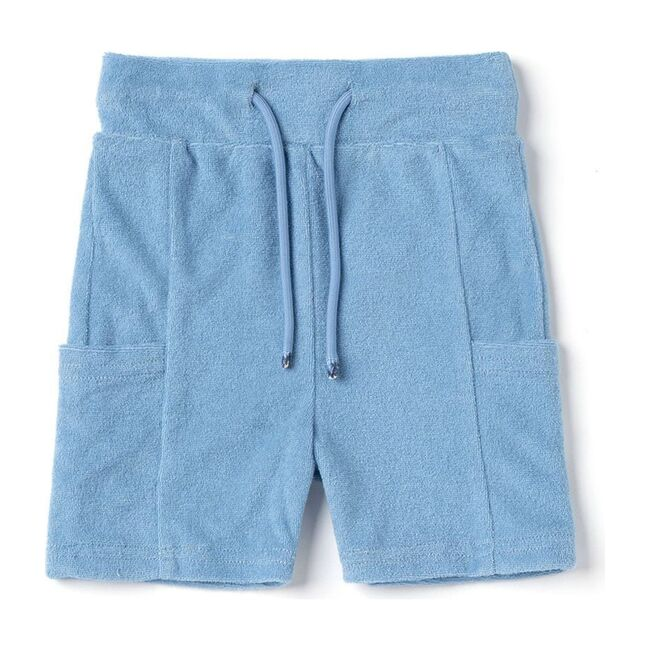 Baby Terry Pull-Up Shorts with Pockets, Blue