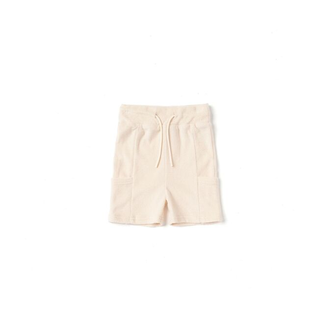 Kids Pull-Up Terry Shorts with Oversized Side Pockets, Cream