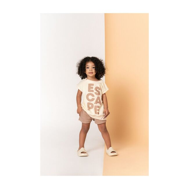 Kids Pull-Up Terry Shorts with Oversized Side Pockets, Mocha