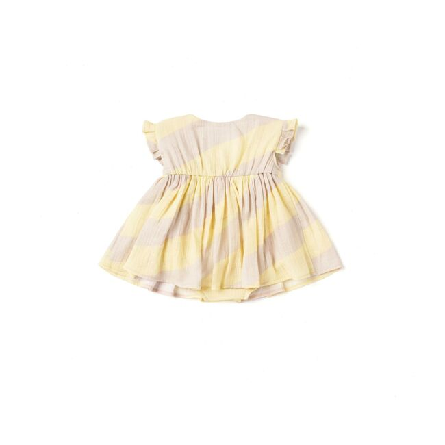 Baby Dress with Knife Pleated Sleeve Ruffle, Yellow