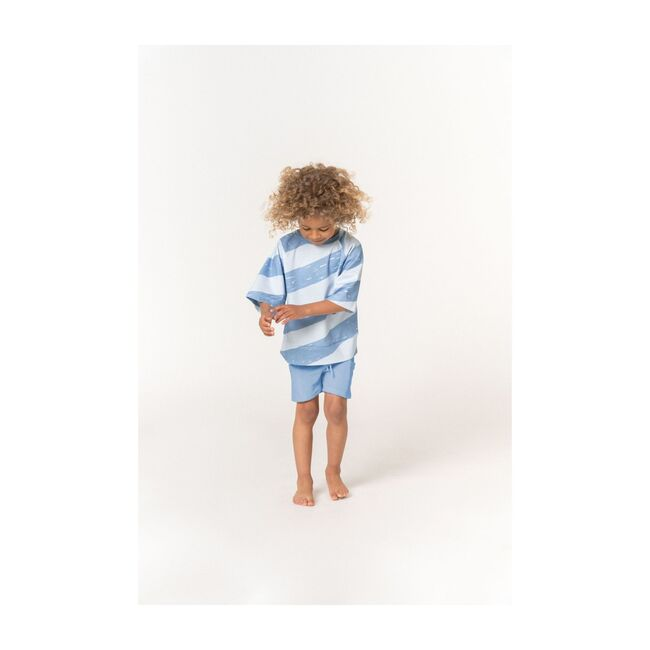 Kids Pull-Up Terry Shorts with Oversized Side Pockets, Blue