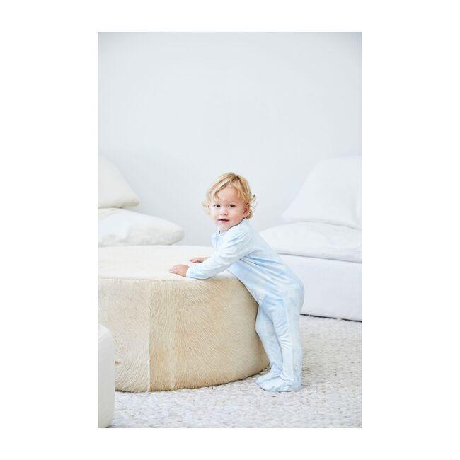 Baby Marble Tie Dye Seamless Footie Romper, Blue