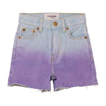 Cherryl Bleached Jean Shorts, Dip Dye Purple