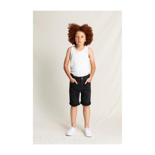 Edmond Denim Checkered Shorts, Black