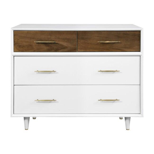 Eero 4-Drawer Dresser, White/Natural Walnut