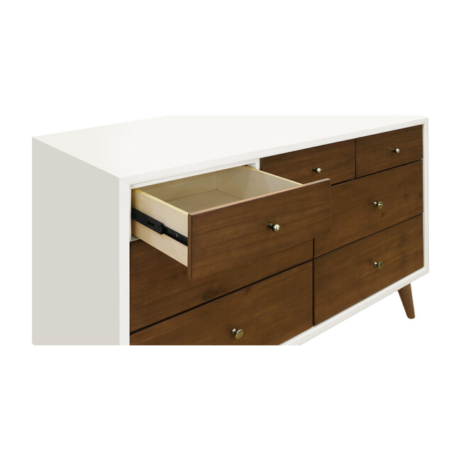 Palma 7-Drawer Assembled Double Dresser, White & Natural Walnut
