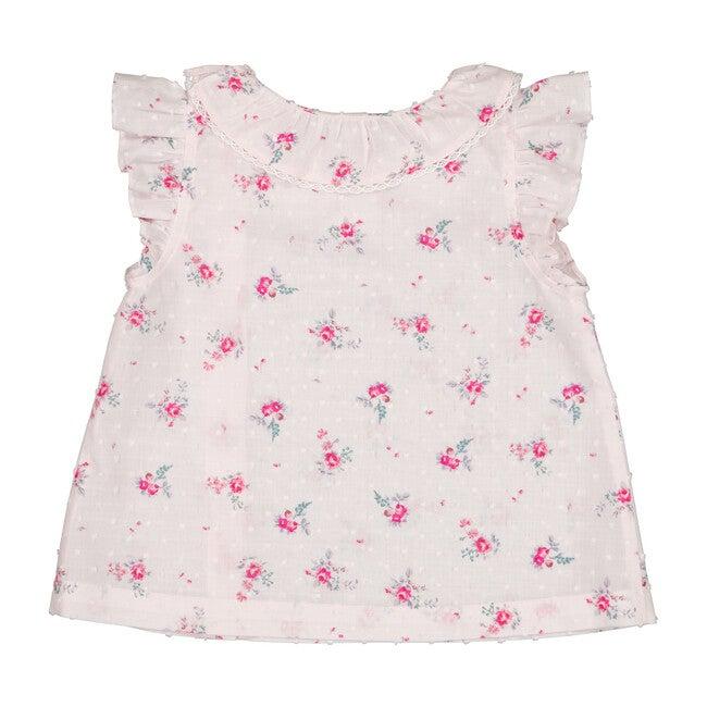 Suzette Blouse, Pink Flowers