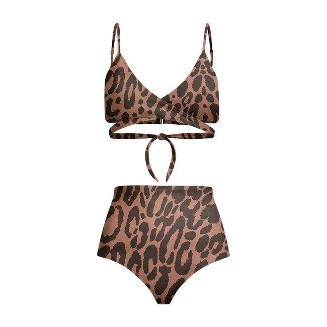 Nina High Waist Bikini Bottom, Leopard